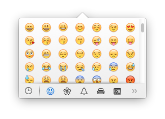 OS X mini character palette showing Emoji emoticons.png